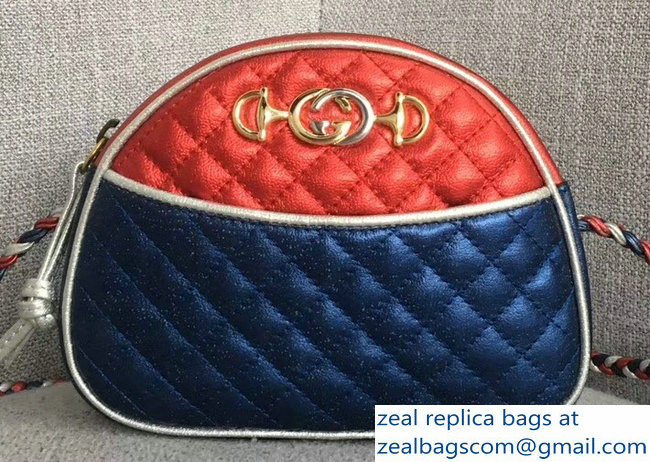 Gucci Laminated Leather Mini Shoulber Bag 534951 Red/Blue 2018
