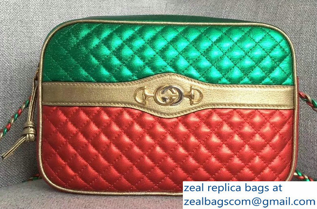 Gucci Laminated Leather Small Shoulber Bag 541061 Green/Red 2018