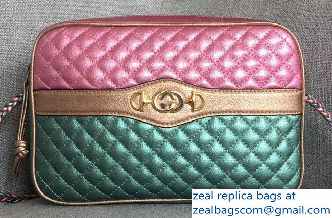 Gucci Laminated Leather Small Shoulber Bag 541061 Pink/Blue 2018