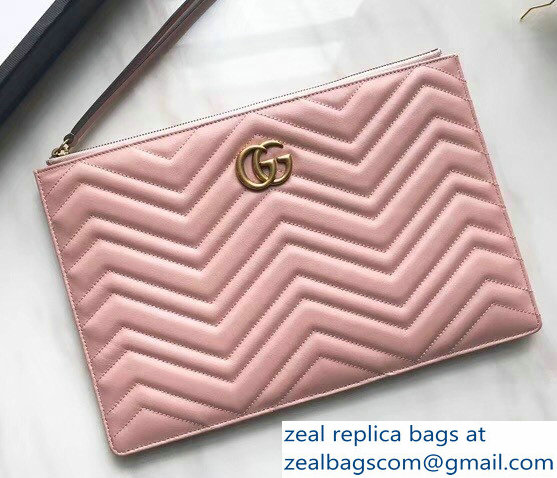 Gucci GG Marmont Leather Pouch Clutch Bag 476440 Nude Pink 2018