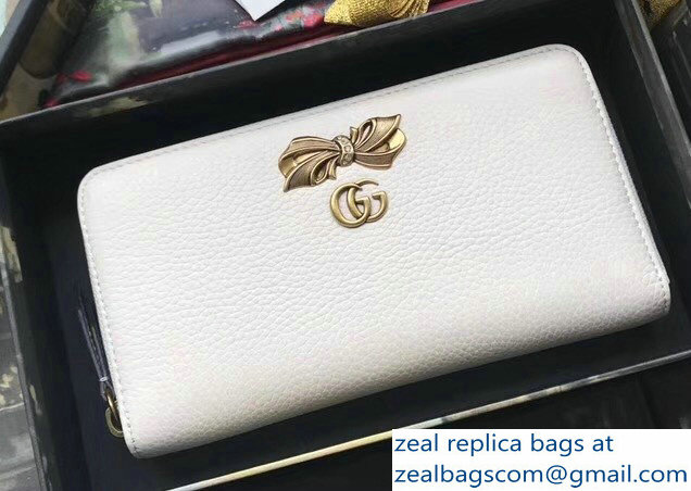 Gucci Leather Zip Around Wallet Bow Stud with Crystals 524291 White 2018