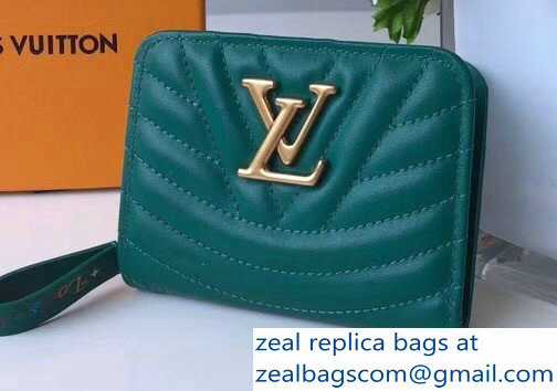 Louis Vuitton New Wave Zipped Compact Wallet Green 2018