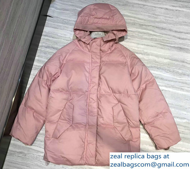 Moncler Down Jacket Pink with Hat 2018