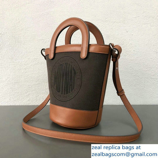 Moynat Fleur Bucket Bag Brown in Canvas and Leather