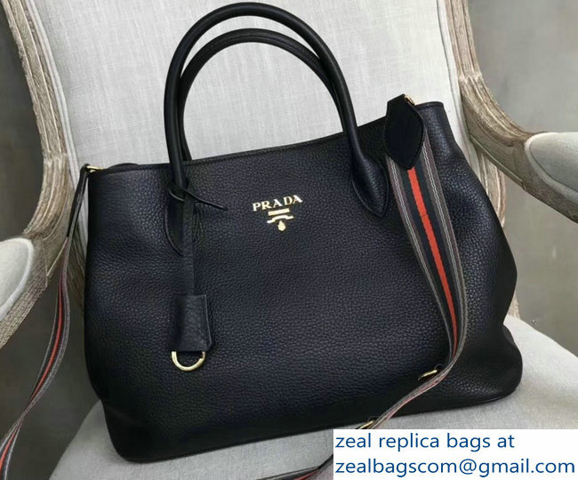 Prada Leather Tote Bag with Strap 1579 Black