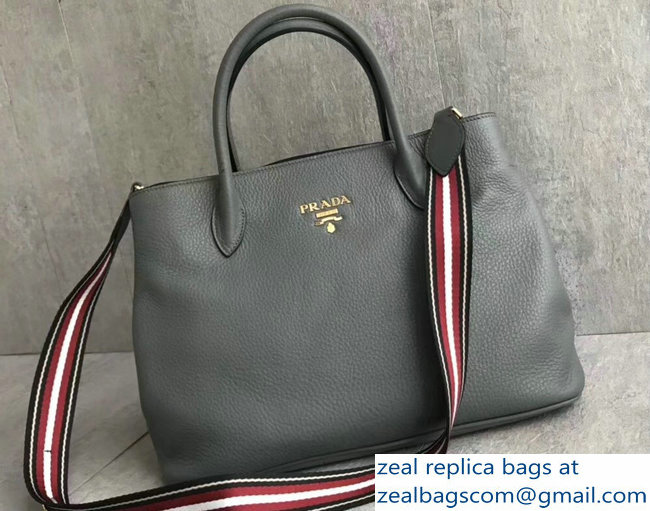 Prada Leather Tote Bag with Strap 1579 Gray