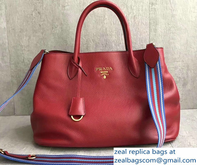 Prada Leather Tote Bag with Strap 1579 Red
