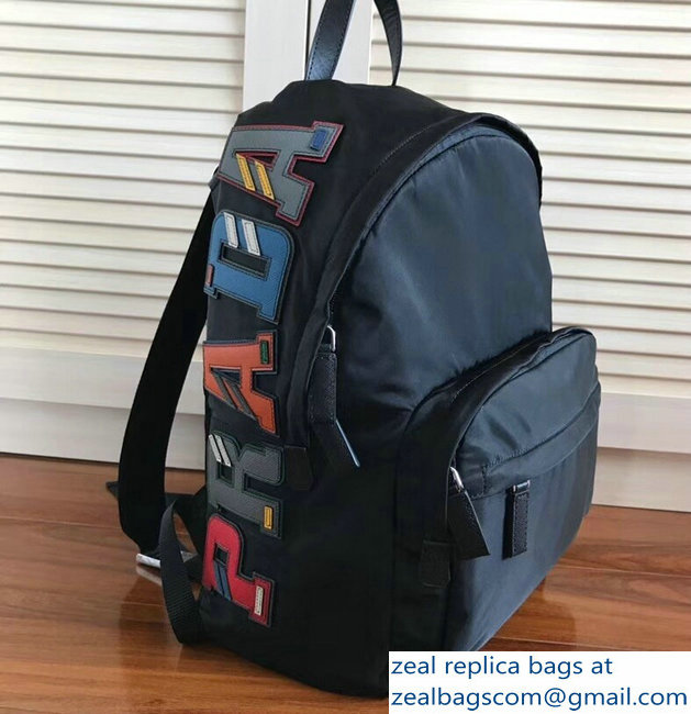 Prada Nylon and Saffiano Leather Backpack Bag 2VZ066 Black Multicolor Logo Lettering 2018