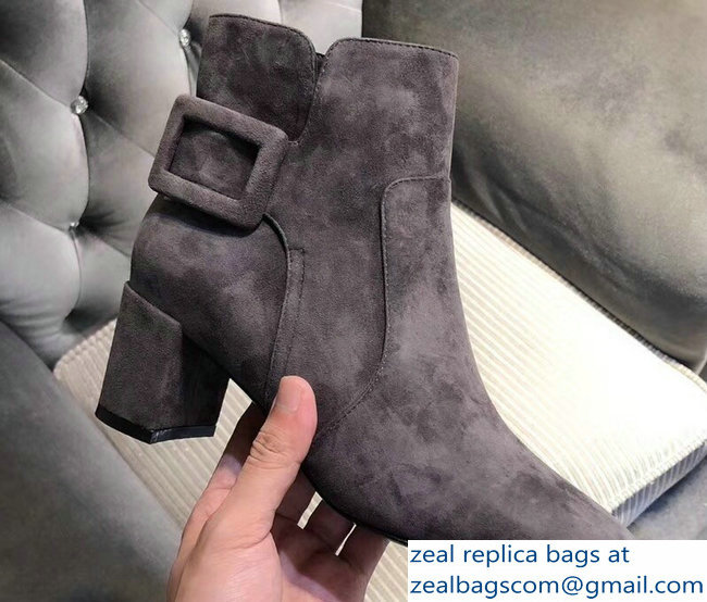 Roger Vivier Heel 5cm Polly Ankle Boots Suede Gray 2018