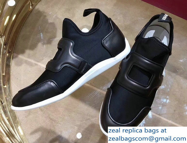 Roger Vivier Sporty Viv' Leather Buckle Sneakers Black 2018