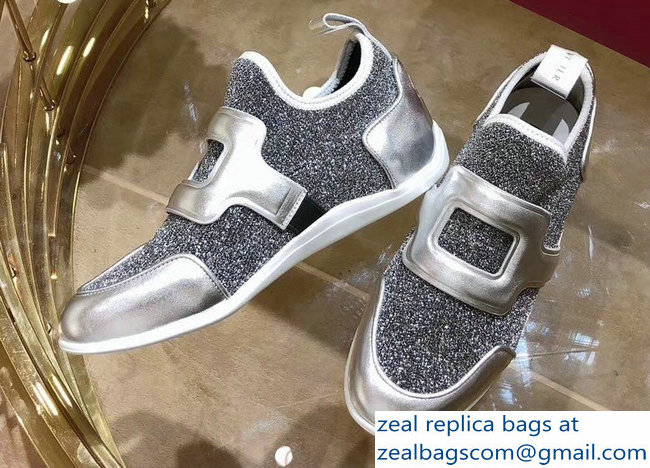Roger Vivier Sporty Viv' Leather Buckle Sneakers Glitter Silver Gray 2018