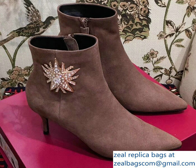 Roger Vivier Suede Sin Star Strass Ankle Boots Camel 2018