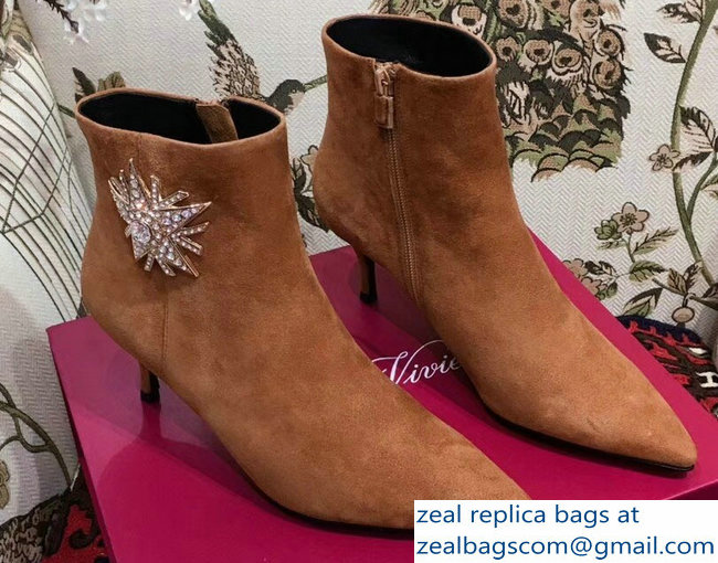 Roger Vivier Suede Sin Star Strass Ankle Boots Caramel 2018