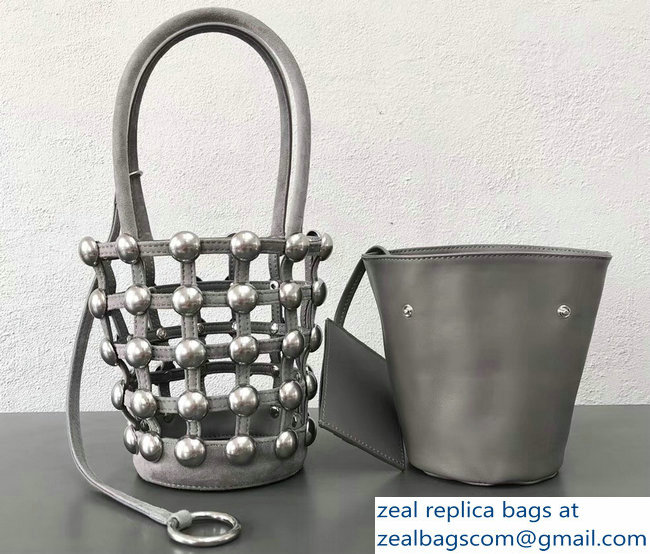 Alexander Wang Caged Roxy Bucket Bag Gray 2018