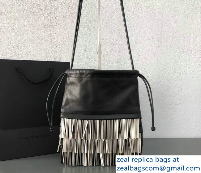 Alexander Wang Ryan Black Lather Dustbag Bag With Metal Fringes 2018