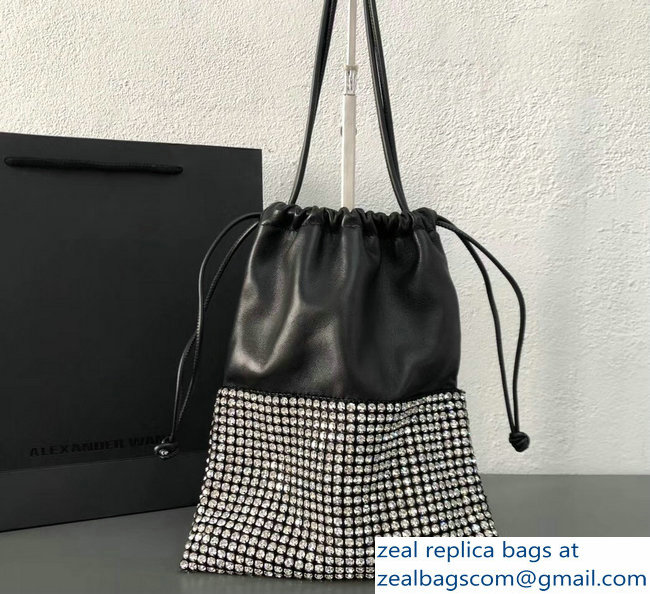 Alexander Wang Ryan Crystal-studded Drawstring Dustbag Bag Black 2018