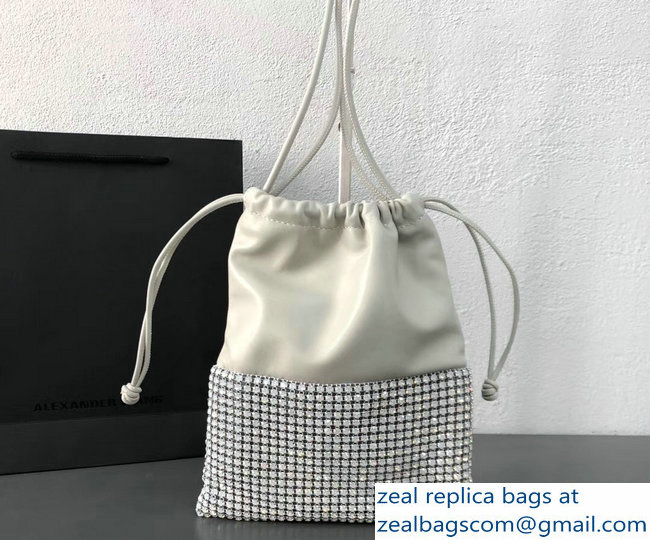 Alexander Wang Ryan Crystal-studded Drawstring Dustbag Bag White 2018