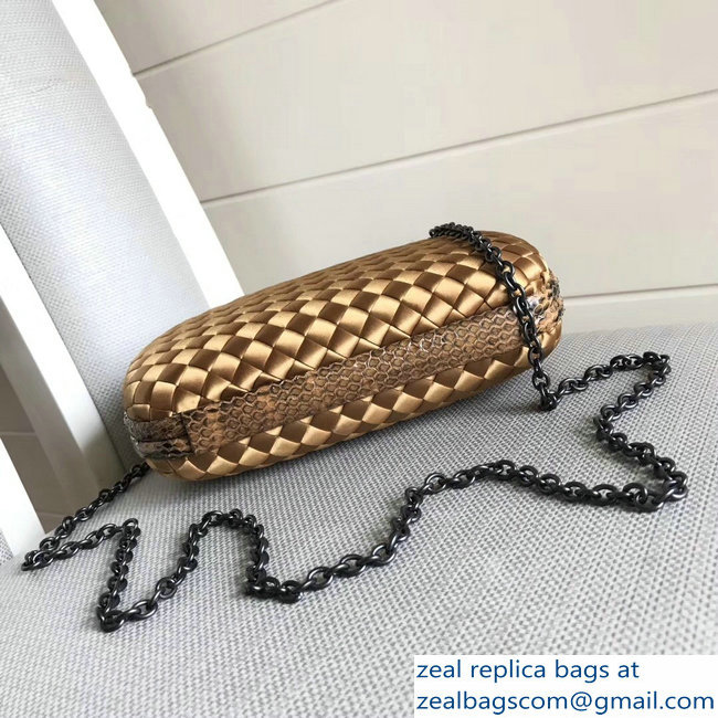 f01edef57472 Bottega Veneta Intrecciato Chain Knot Clutch Bag Gold 2018   www ...