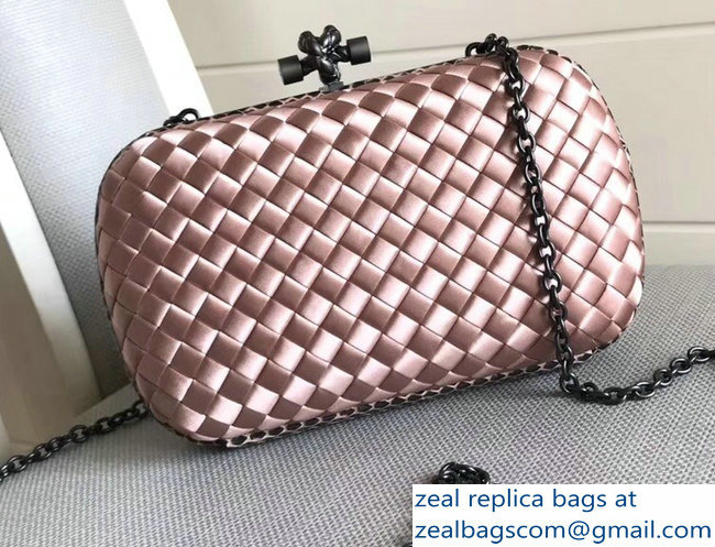 Bottega Veneta Intrecciato Chain Knot Clutch Bag Nude Pink 2018