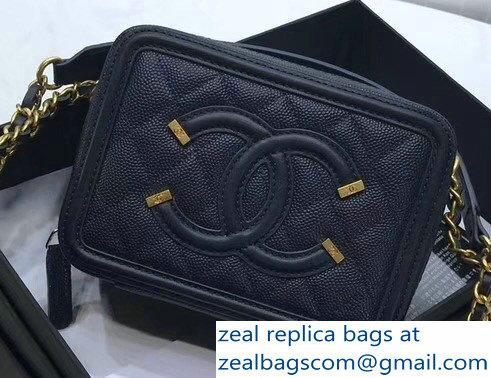 60120773a285 Chanel CC Filigree Grained Vanity Case Shoulder Bag Navy Blue 2018
