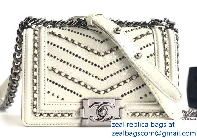 Chanel Crumpled Calfskin Chain Studded Boy Small Flap Bag White/Silver 2018