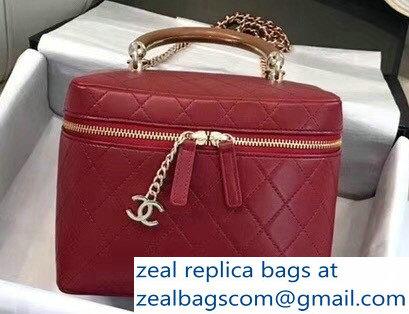 c522491b7741 Chanel Lambskin Knock On Wood Vanity Case Bag A57343 Red 2018   www ...