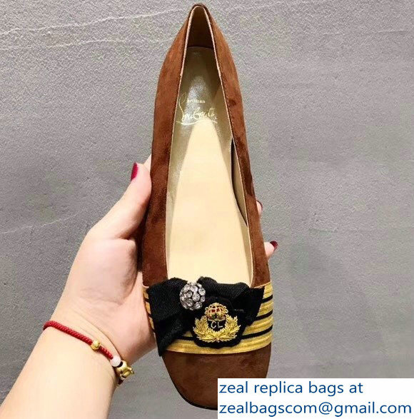 Christian Louboutin Yellow Stripe Flats Suede Brown