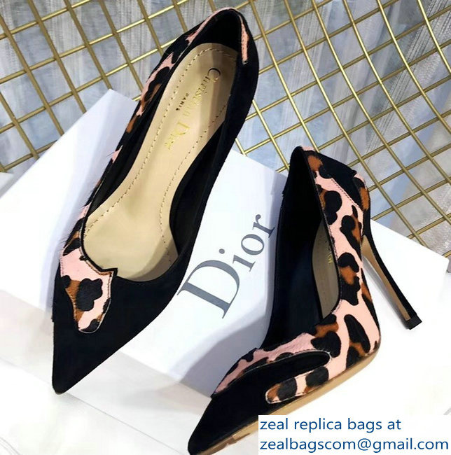 Dior Black Suede And Leopard Calf Hair Pointed Toe Pumps 03 2018