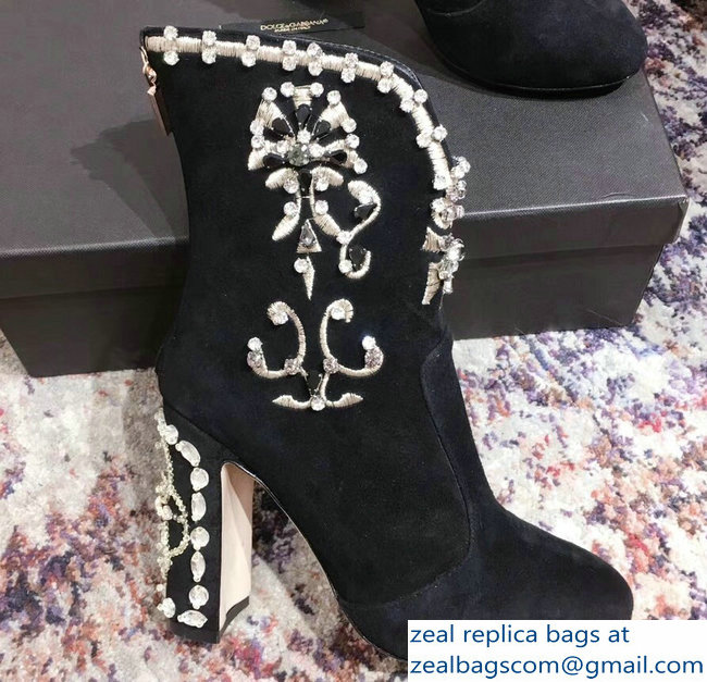 Dolce & Gabbana Embroidery Heel 9cm Ankle Boots Black 2018