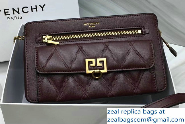 Givenchy Pocket Bag Burgundy In Diamond Quilted Leather 2018