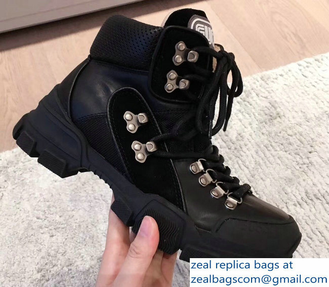 Gucci Flashtrek High-Top Lovers Sneakers Black 2018