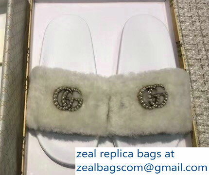 Gucci Heel 1.5cm Shearling Fur Crystal Double G Slide Sandals Creamy 2018