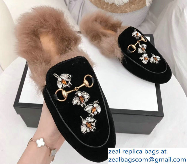 Gucci Princetown Leather Fur Slipper Black Crystals Bees 2018
