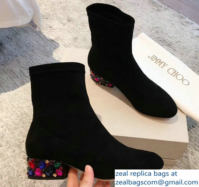 Jimmy Choo Crystals Heel 4cm Suede Stretch Ankle Boots Black 2018