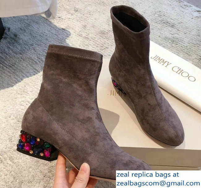 Jimmy Choo Crystals Heel 4cm Suede Stretch Ankle Boots Gray 2018