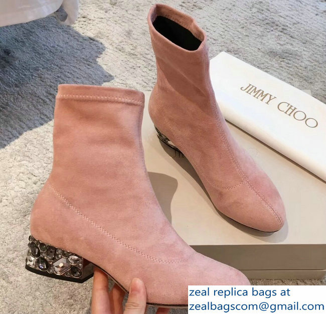 Jimmy Choo Crystals Heel 4cm Suede Stretch Ankle Boots Nude Pink 2018