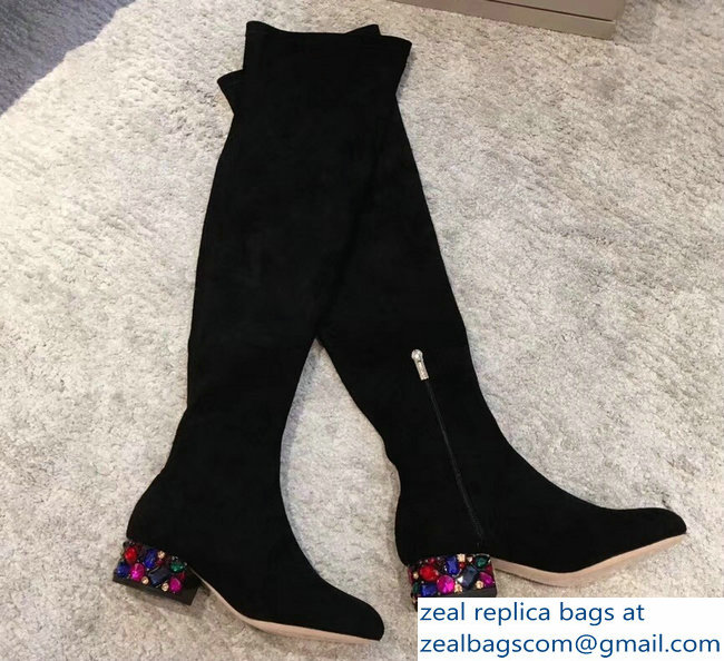 Jimmy Choo Crystals Heel 4cm Suede Stretch High Boots Black 2018