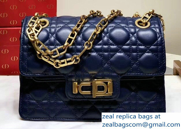 Miss Dior CD Logo Shoulder Bag in Cannage Lambskin Blue 2018   www ... ffef02cf4b5f7