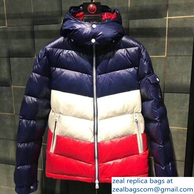 Moncler Down Jacket Blue/White/Red 2018