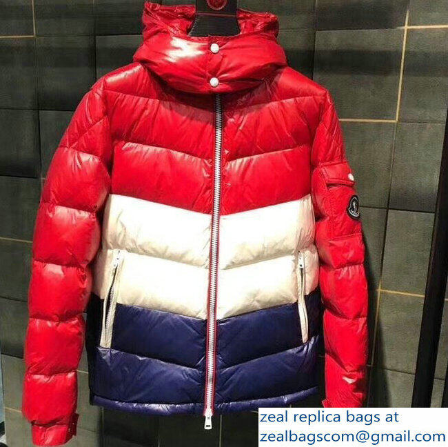 Moncler Down Jacket Red/White/Blue 2018