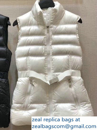 Moncler Down Vest White with Belt 2018