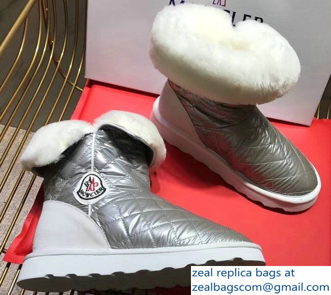 Moncler Shearling Fur Down Boots Silver 2018