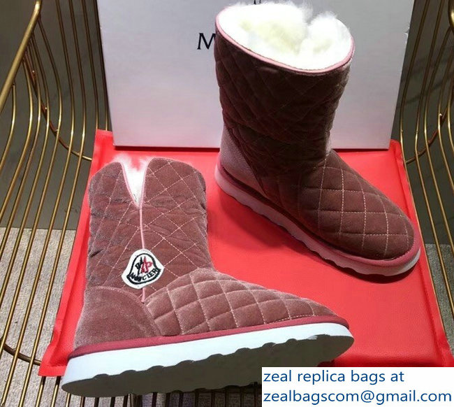 Moncler Shearling Fur Down Boots Velvet Nude Pink 2018