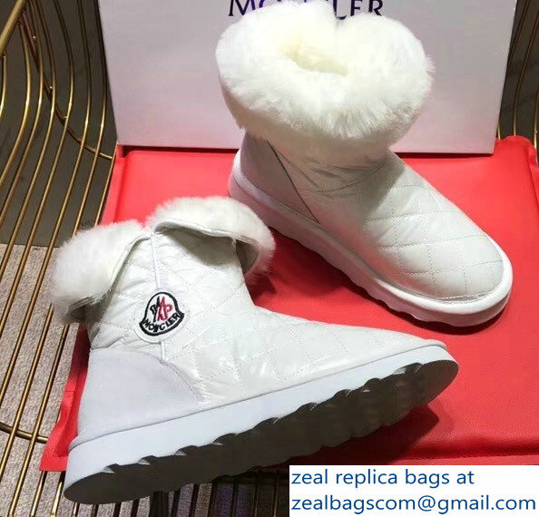 Moncler Shearling Fur Down Boots White 2018