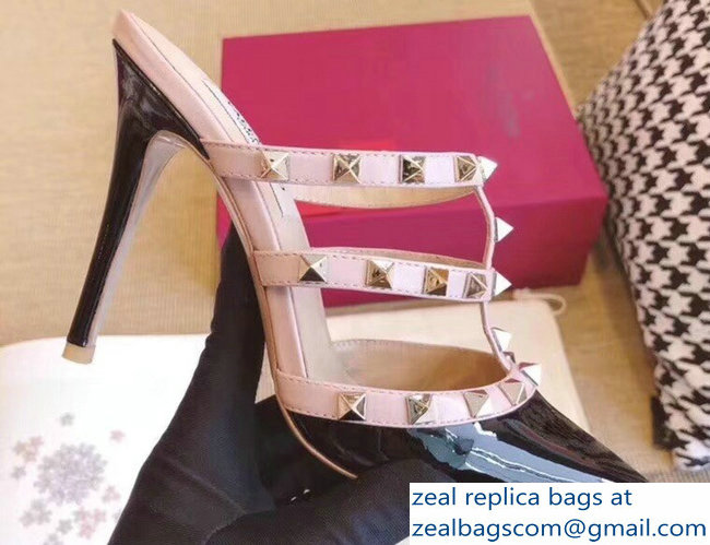 Valentino Heel 9.5cm Patent Leather Rockstud Heel Mules Sandals Black 2018