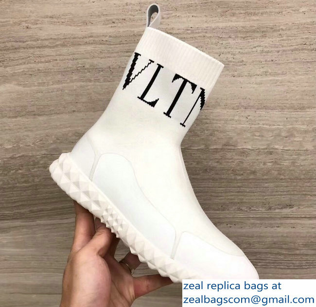 Valentino Stretch Knitted Fabric Sock VLTN Sneakers Boots White 2018