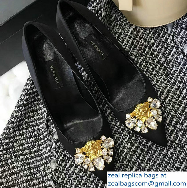 Versace Heel 9cm Crystal and Medusa Pumps Black