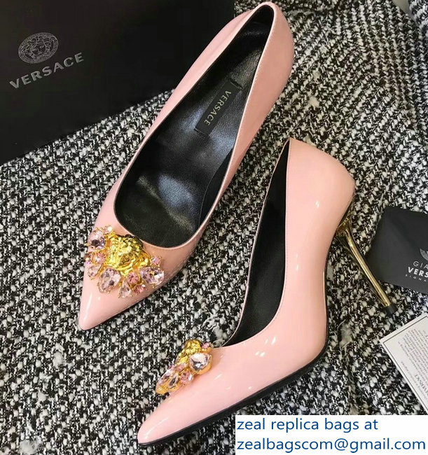 Versace Heel 9cm Crystal and Medusa Pumps Patent Pink