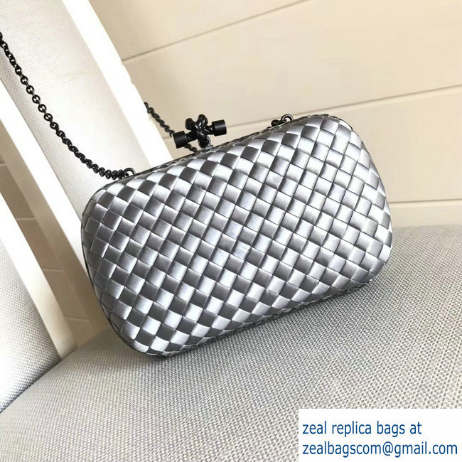 Bottega Veneta Intrecciato Chain Knot Clutch Bag Silver 2018