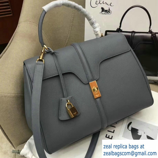 3848bf5bbf8e Celine Calfskin Medium 16 Bag Grained Gray 187373 187374 2019   www ...